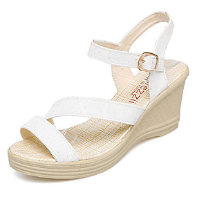cfa7a4a6da3e Women s Wedge Heels PU(Polyurethane) Summer Comfort Sandals Wedge Heel Gold    White   Blue