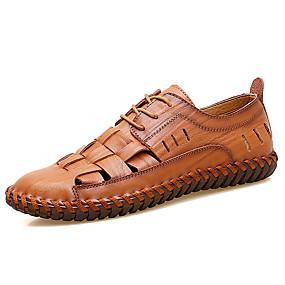baratos Oxfords Masculinos-Homens Sapatos Confortáveis Couro / Couro Envernizado Primavera Verão Casual Oxfords Respirável Preto / Vermelho / Marron / Ao ar livre