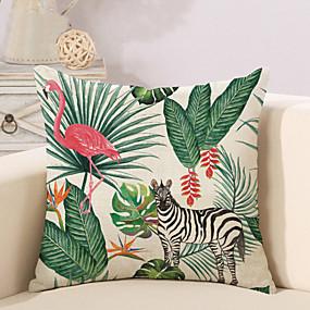 cheap Others-1 pcs Cotton / Linen Pillow Cover Novelty Pillow Pillow Case, Botanical Flamingo Animal Tropical New Arrival