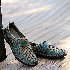 baratos Oxfords Masculinos-Homens Couro Primavera / Verão Conforto Oxfords Marron / Verde / Azul