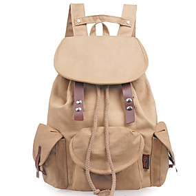 cheap School Bags-Women's Bags Backpack Buttons Embroidery Brown
