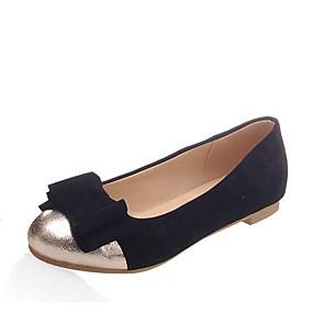 abordables Chaussures Plates pour Femme-Femme Chaussures Similicuir Printemps / Eté Confort Ballerines Talon Plat Bout rond Noeud Noir / Bleu / Rose
