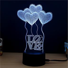 hesapli 3D Gece Işıkları-1set Gece aydınlatması LED / 3D Gece Görüşü Değişim DC Powered / USB Renk Değiştiren / Yaratıcı / Modellendirme 5 V 3D