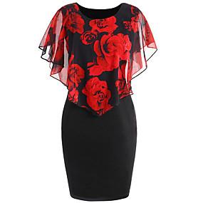povoljno Crvene haljine-Žene Osnovni Bodycon Haljina - Print, Cvjetni print Iznad koljena