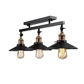 billige Taklamper-vintage loft taklampe flush mount lett retning justerbar 3-leder metall speil glass stue spisestue