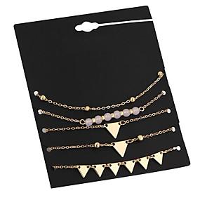baratos Pulseira de Charme-5pçs Mulheres Pulseiras em Correntes e Ligações Pulseiras com Pendentes Geométrico senhoras Vintage Metal Pulseira de jóias Dourado Para Encontro Rua
