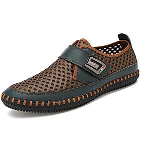 baratos Sapatilhas e Mocassins Masculinos-Homens Sapatos Confortáveis Tule Primavera / Outono Mocassins e Slip-Ons Castanho Claro / Verde Escuro / Cinzento