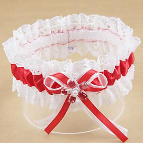 billige Strømpebånd til bryllup-Polyester Moderne / Bryllup Bryllupsklær Med Akryl / Sløyfe / Imiterte Perler Strømpebånd Bryllup / Fest & Aften