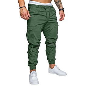cheap Under $13.99-Men's Basic Plus Size Sweatpants / Cargo Pants - Solid Colored Navy Blue / Spring / Fall