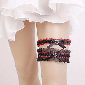 billige Strømpebånd til bryllup-Chiffon Sateng Vintage Stil Bryllupsklær Med Rhinsten / Sløyfe / Rynker Strømpebånd Bryllup / Fest / aften