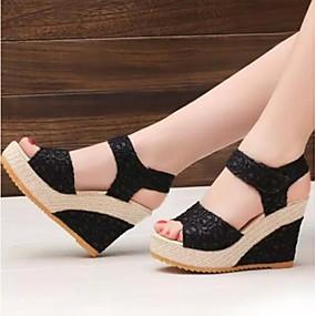 cheap Women's Wedges-Women's Sandals Wedge Heel Mesh Comfort Winter Black / Beige / EU39