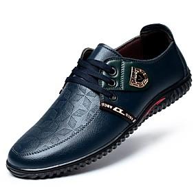 baratos Oxfords Masculinos-Homens Sapatos Confortáveis Couro Envernizado Verão Oxfords Preto / Azul / Marron / Festas & Noite / Festas & Noite