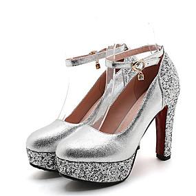 2442907f417 Women s Party Heels PU(Polyurethane) Summer Basic Pump Heels Chunky Heel  Round Toe Rhinestone Gold   Silver   Red   Wedding   Party   Evening    Party   ...