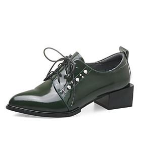 Γυναικεία Παπούτσια Νάπα Leather Άνοιξη   Φθινόπωρο Ανατομικό Oxfords  Κοντόχοντρο Τακούνι Μυτερή Μύτη Μαύρο   Πράσινο 9d61a67513e