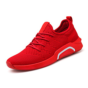 cheap Men's Athletic Shoes-Men's Comfort Shoes Elastic Fabric Spring & Summer Sporty / Casual Athletic Shoes Running Shoes Breathable Black / Gray / Red