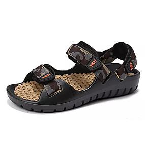 baratos Sandálias Masculinas-Homens Sapatos Confortáveis Tricô / Couro Ecológico Verão Sandálias Côr Camuflagem Vermelho / Verde / Azul / Ao ar livre