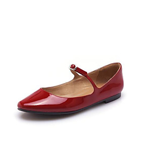 cheap Women's Flats-Women's Shoes Patent Leather Summer Mary Jane Flats Flat Heel Round Toe Buckle White / Black / Red