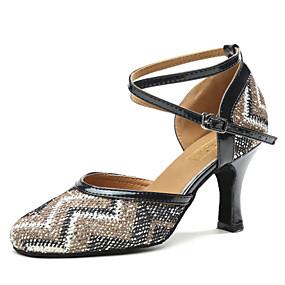 저렴한 Shoes Trends-여성용 모던 슈즈 새틴 힐 장식용 금속조각 큐반 힐 댄스 신발 블루 / 누드