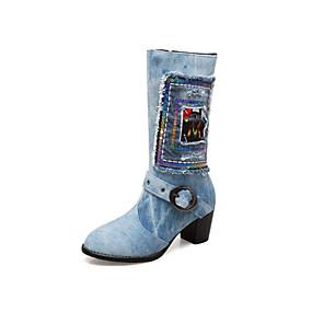 voordelige Wijdere maten schoenen-Dames Laarzen Blokhak Ronde Teen Denim Kuitlaarzen Modieuze laarzen Lente zomer Donkerblauw / Lichtblauw / Feesten & Uitgaan