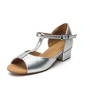 billige Moderne sko-Jente Sko til latindans / Moderne sko Sateng Flate / Joggesko Tykk hæl Dansesko Gull / Sølv