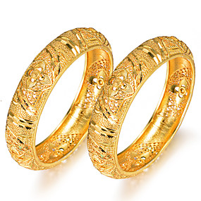 baratos Pulseiras Vintage-2pcs Mulheres Bracelete Pulseiras Algema Clássico Criativo senhoras Luxo Étnico Chapeado Dourado Pulseira de jóias Amarelo Para Festa Presente