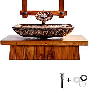 billige Frittstående vask-Baderomsvask / Baderomskran / Baderom Monteringsring Antikk - Herdet Glass Rektangulær Vessel Sink