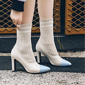abordables Bottes Tendance-Femme Bottes Block Heel Bout pointu Tricot / Polyuréthane Bottes Mi-mollet Bottes à la Mode Automne hiver Noir / Beige / Bloc de Couleur