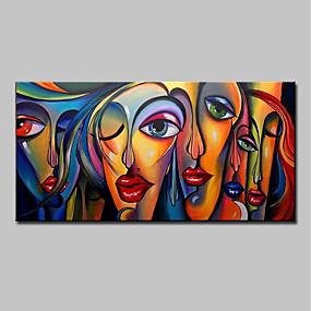 levne Abstraktní malby-Hang-malované olejomalba Ručně malované - Lidé Pop Art Moderní Bez vnitřní rám / Válcované plátno