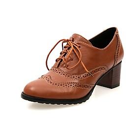 voordelige Dames Oxfords-Dames Oxfords Britse stijl geruite schoenen Blokhak Ronde Teen PU Inrijgen Lente & Herfst Zwart / Beige / Bruin / Dagelijks