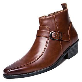 povoljno Muške čizme-Muškarci Fashion Boots PU Proljeće Čizme Crn / Braon