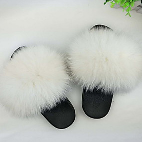 cheap Summer Sale-Women's Slippers House Slippers Ordinary Fox Fur solid color Shoes