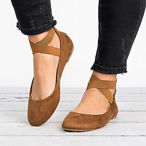 cheap Women's Flats-Women's Comfort Shoes Suede Spring &  Fall Flats Flat Heel Round Toe Gray / Brown / Leopard