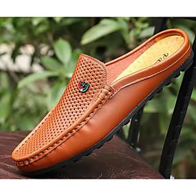 voordelige Wijdere maten schoenen-Heren Comfort schoenen Leer Lente Klompen & Muiltjes Zwart / Wit / Bruin