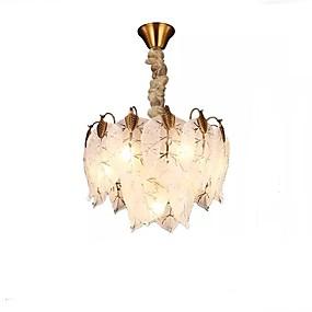 abordables Plafonniers-QIHengZhaoMing 7 lumières Lustre Lumière d'ambiance Plaqué Métal Verre 110-120V / 220-240V Blanc Crème / Blanc Neige Ampoule incluse