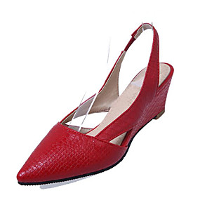 2fa9dbf72916 Women s Comfort Shoes PU(Polyurethane) Spring Clogs   Mules Wedge Heel  White   Black   Red