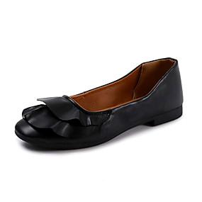 cheap Women's Flats-Women's Comfort Shoes PU(Polyurethane) Fall Minimalism Flats Flat Heel White / Black / Green