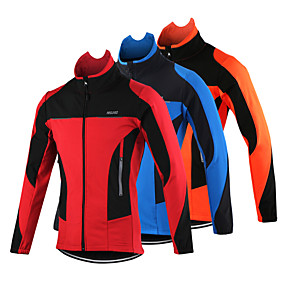 cheap Sports & Outdoor Super Clearance-Arsuxeo Men's Cycling Jacket Bike Jacket Top Thermal / Warm Windproof Breathable Sports Polyester Spandex Fleece Winter Orange / Red / Blue Mountain Bike MTB Road Bike Cycling Clothing Apparel