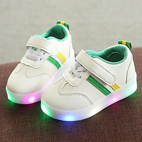 643450931128 Drenge   Pige Sko PU Forår   Vinter Komfort   Lysende Sko Sneakers hægte    LED for Børn   Baby Sort   Rød   Grøn