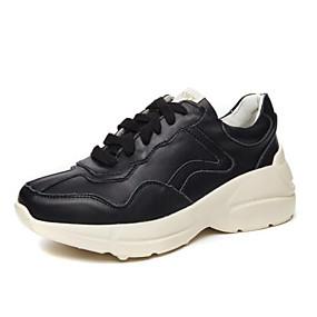 23daccce1b Mulheres Sapatos Confortáveis Pele Napa Primavera Tênis Salto Baixo Ponta  quadrada Branco   Preto   Rosa claro