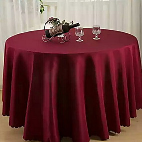 Contemporary 100g / M2 Polyester Knit Stretch Round Table Cloth Solid  Colored Table Decorations 1 Pcs