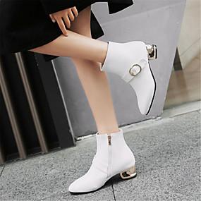 voordelige Wijdere maten schoenen-Dames Fashion Boots PU Winter Laarzen Blokhak Ronde Teen Korte laarsjes / Enkellaarsjes Wit / Zwart / Rood