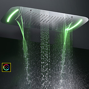 cheap Shower Heads-71X43 CM Bathroom Shower Head / Stainless Steel SUS 304 / Contemporary / Bubble Atomizing Waterfall Rain Four Functions / With Colorful LED Light Changed by Touch Panel