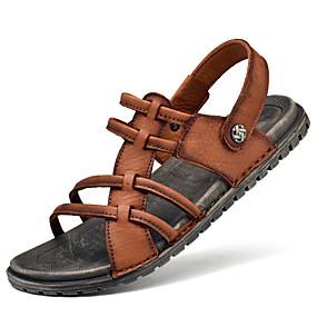 baratos Sandálias Masculinas-Homens Sapatos Confortáveis Pele Napa Verão Sandálias Água Respirável Preto / Marron