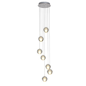 cheap Pendant Lights-UMEI™ 7-Light Cluster Pendant Light Ambient Light Chrome Metal Crystal, LED 90-240V Warm White Bulb Included / G4