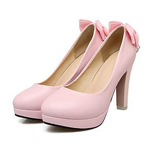 baratos Stilettos-Mulheres Sapatos Confortáveis Couro Ecológico Primavera Saltos Salto Agulha Branco / Preto / Rosa claro / Casamento / Diário