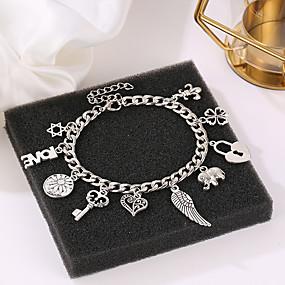 voordelige Bedelarmband-Dames Bedelarmbanden Klassiek Hart Holle Hart Dames Casual / Sporty Modieus Legering Armband sieraden Zilver Voor Carnaval Uitgaan