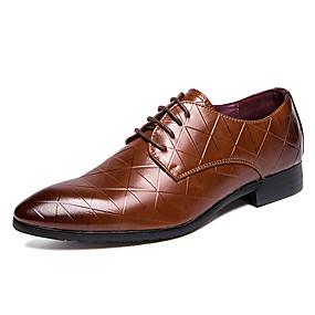 baratos Oxfords Masculinos-Homens Sapatos de couro Couro Primavera Verão Oxfords Respirável Preto / Marron / Ao ar livre