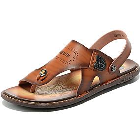 baratos Sandálias Masculinas-Homens Sapatos Confortáveis Pele Outono / Primavera Verão Vintage / Casual Sandálias Água / Tênis Anfíbio Respirável Marron
