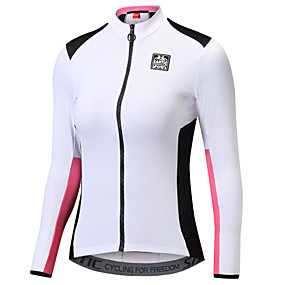 cheap -70%-SANTIC Women's Long Sleeve Cycling Jersey - White+Pink Solid Color Bike Jacket Jersey Top Thermal / Warm Quick Dry Ultraviolet Resistant Sports Polyester 100% Polyester Mountain Bike MTB Road Bike