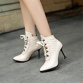 abordables Bottes Tendance-Femme Fashion Boots Polyuréthane Hiver Bottes Talon Aiguille Bout pointu Bottes Mi-mollet Paillette Brillante Noir / Beige / Rouge / Soirée & Evénement